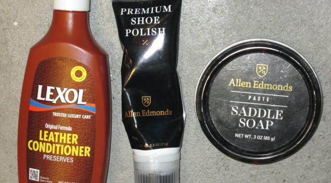 Shoe cleaning supplies - Lexol, Allen Edmonds polish and saddle soap