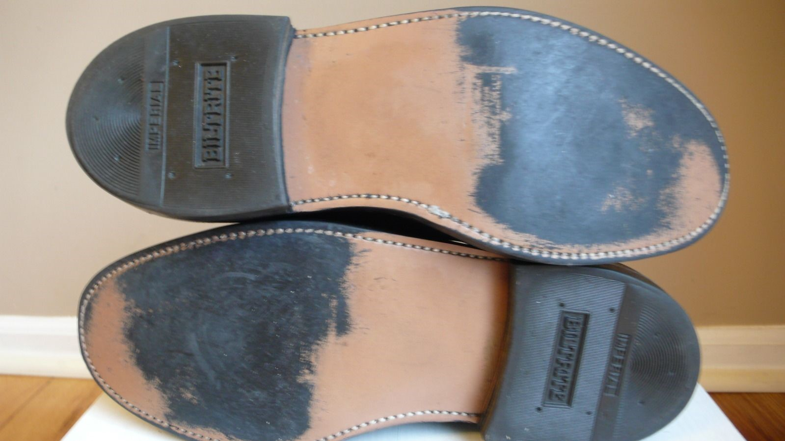 Rubber outsoles on a pair of Stuart Mcguire shoes
