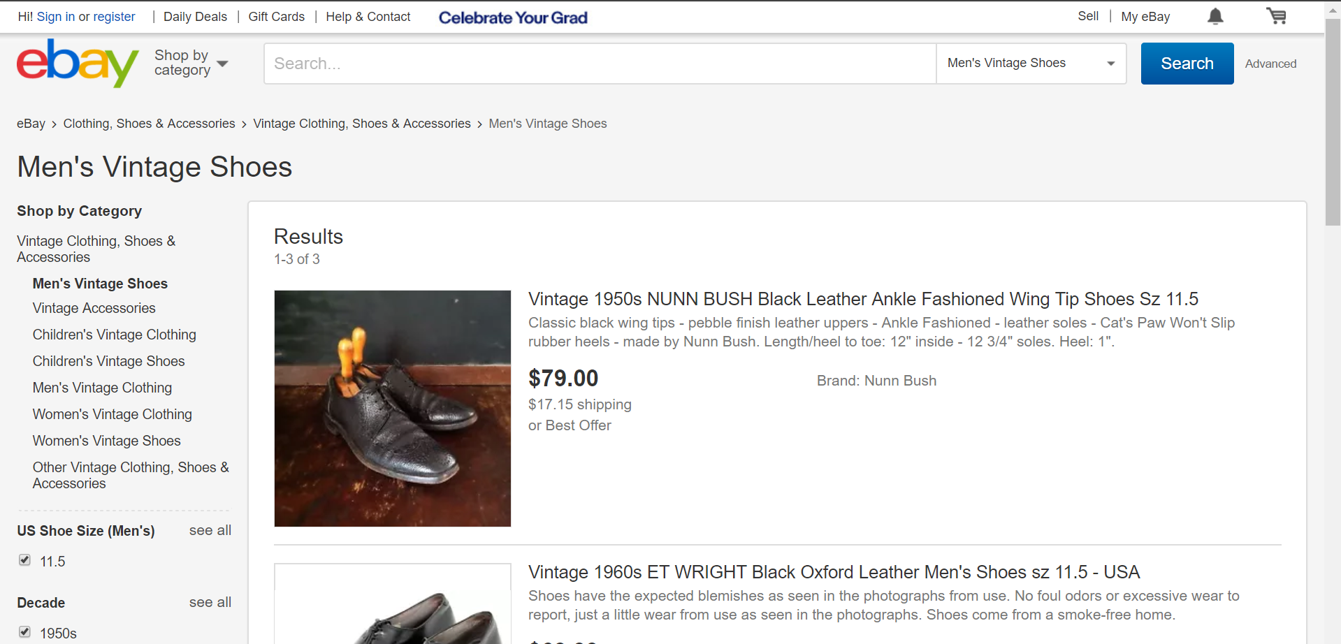 eBay UI