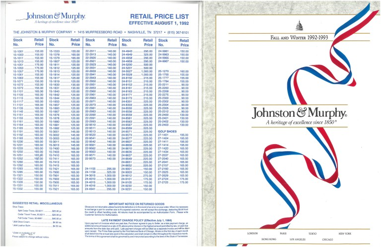 1992 Johnston Murphy Price Sheet